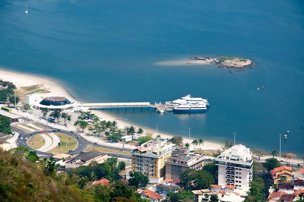 Boat station in charitas niteroi rj brazil top view