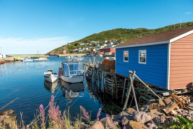 Boats at dock, petty harbor-maddox cove, st. john's, avalon peninsula, newfoundland and labrador, ca