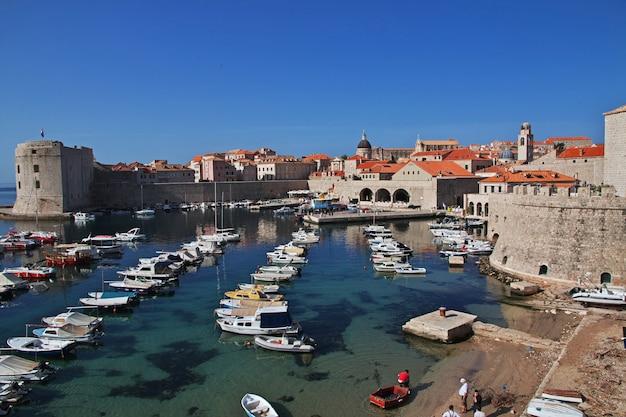 Boats in dubrovnik city on the adriatic sea, croatia