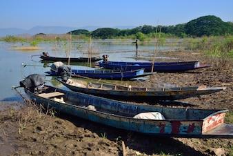 Boats fishing in Lam Ta Khong dam, Pak Chong District, Nakhon Ratchasima Province ,Thailan