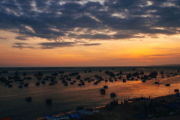 Boats for fishing on the sea in vietnam