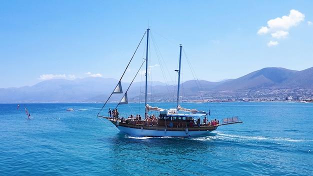 Boats at sea in crete island