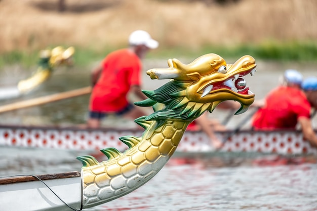 Boats with dragon heads on a lake Premium Photo