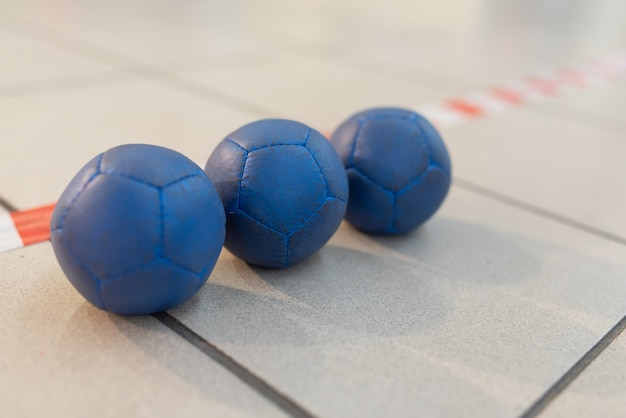 Boccia balls, blue, on the field line. for any purpose.