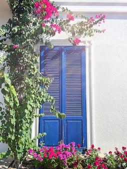 보드룸, 터키. 핑크 부겐빌레아 꽃과 보드룸의 백악관에 있는 오래된 파란색 문. 전통적인 보드룸 하우스.