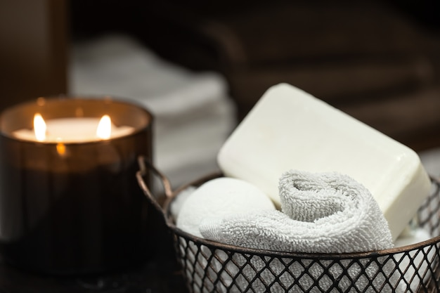 Body care products in a metal basket. health and hygiene concept.