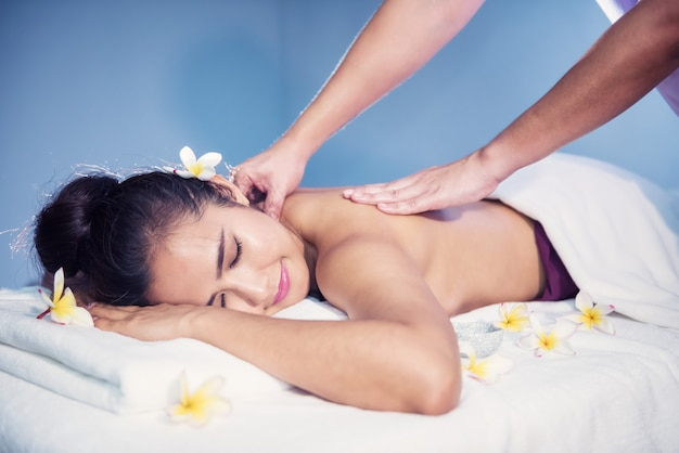 Body care treatment by thai oil massage