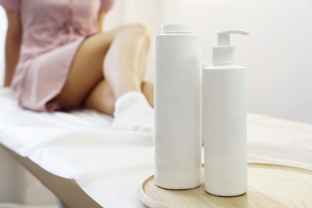 Body care. young woman with smooth healthy skin of the legs