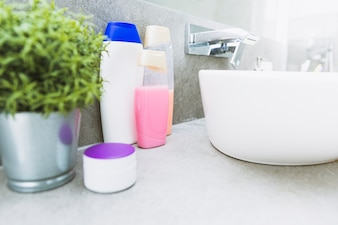 Body cosmetics near sink