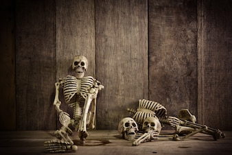 Body object background wooden skeleton