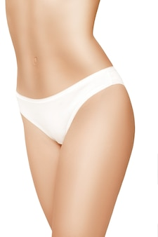 흰색 배경에 고립 된 아름 다운 슬림 여자의 몸