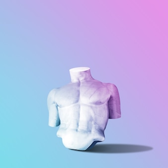 그라데이션에 대담한 분홍색과 파란색 네온 색상의 동상 몸