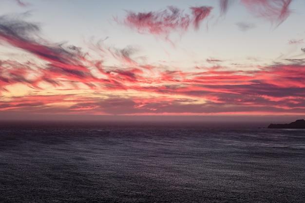 日没時の曇り空の下の水域