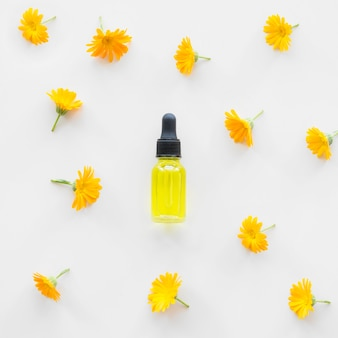Body oil with chamomile flowers
