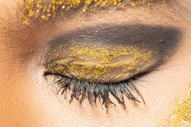 Body part eye with eyelash close up fashion makeup