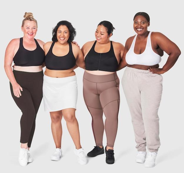 Боди-позитив разнообразная пышная женская спортивная одежда