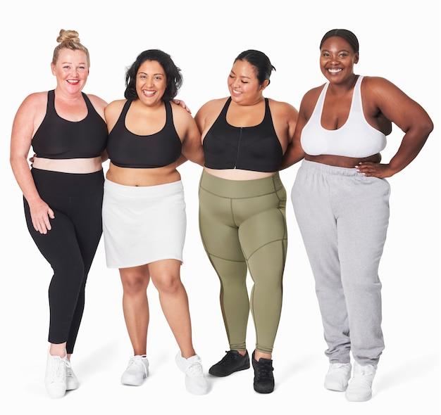 신체 양성 다양한 매력적인 여성 스포츠웨어