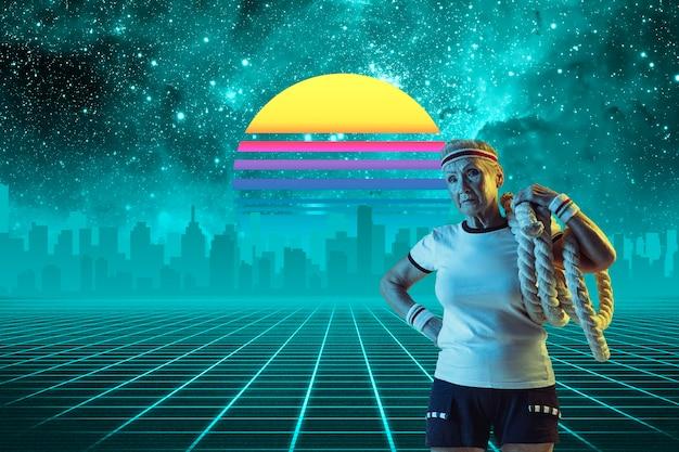 Культурист-спортсмен красивый фон синтезаторная волна и футуристическая паровая волна в стиле ретро