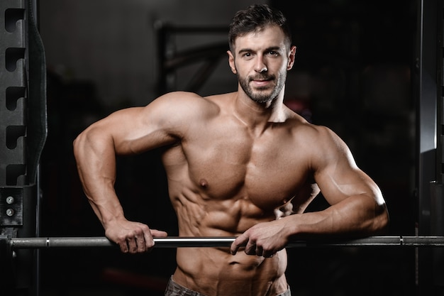 Bodybuilder pumping up muscles workout fitness and bodybuilding concept background - handsome strong athletic men muscular fitness man doing arms abs back exercises in gym naked torso