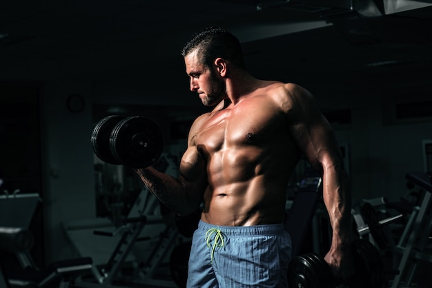 Bodybuilder training biceps in gym with dumbbells exercises. sportsman with shirtless torso. sporty workout. athletic body.