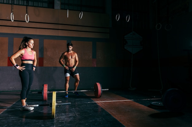 Bodybuilding concept with couple