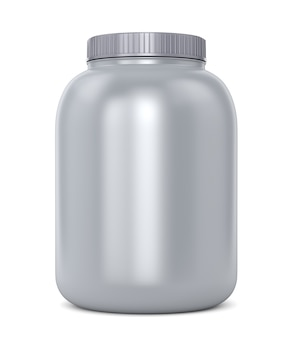 Bodybuilding supplements: can of protein or gainer powder isolated on white background