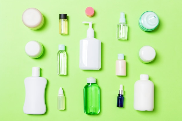 Bodycare bottle flat lay composition