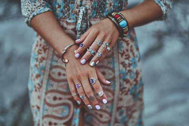Bohemian chic woman with boho details