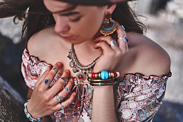 Bohemian outfit with jewelry accessories details