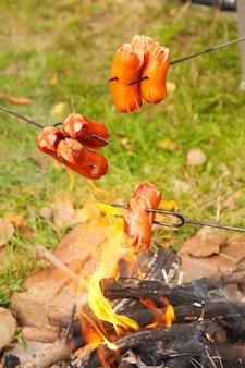 キャンプファイヤーで調理されたボヘミアンソーセージ