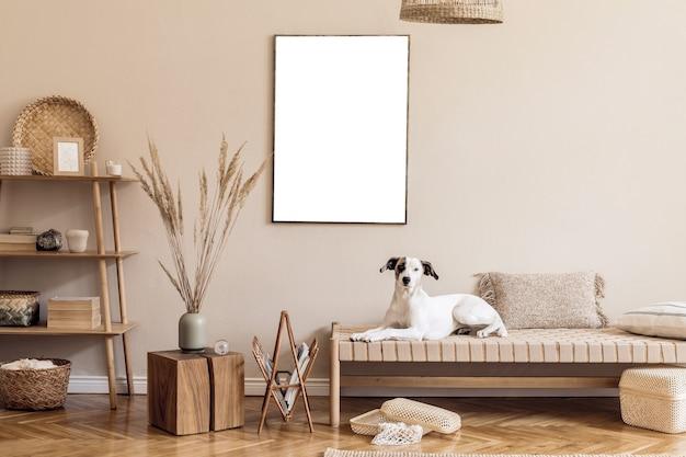 Бохо композиция гостиной с мебелью, макет картины и аксессуаров шаблон