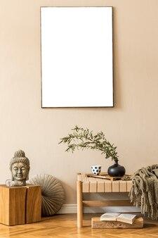 家具付きのリビングルームの自由奔放に生きる構成は、絵画やアクセサリーをモックアップテンプレート