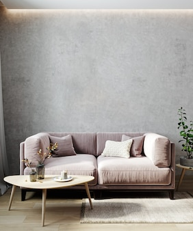 Boho style living room interior mock up, living room interior background, pink sofa and coffee table, 3d rendering