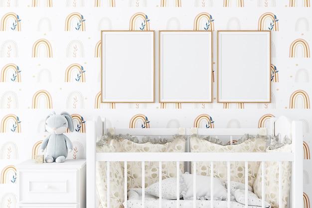 Boho style nursery mockup frame