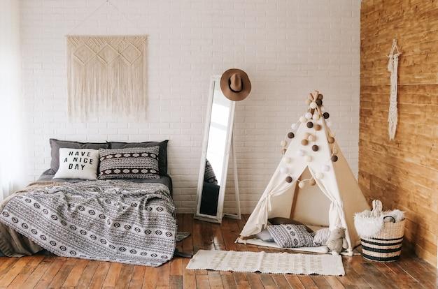 Интерьер спальной кровати boho style