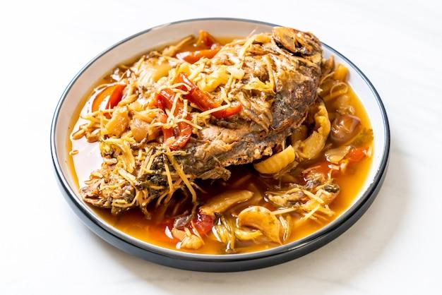 Карп рыба отварная с маринованным салатом