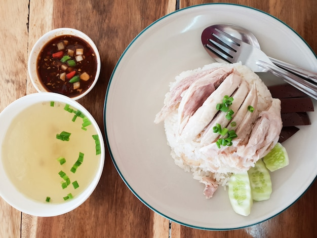 Boiled chicken rice and sauce and soup thailand  food