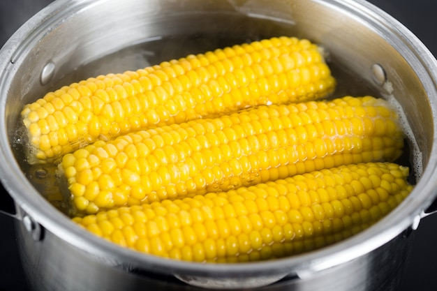 Boiled corn on the cob in a pot of boiling water
