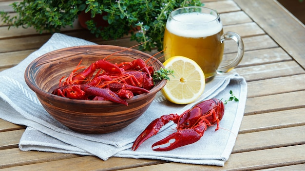 Boiled crawfish and beer