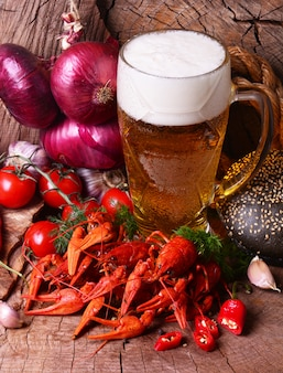 Boiled crayfisf and beer