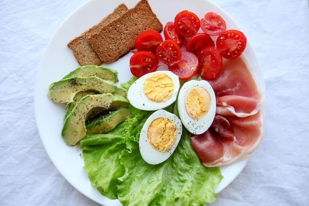 Вареные яйца, бекон, авокадо, тосты, помидоры и салат из листьев салата.