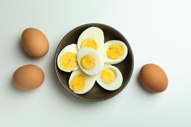 Boiled eggs on white