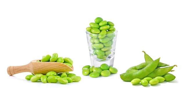 Boiled green soy beans, japanese beans on white