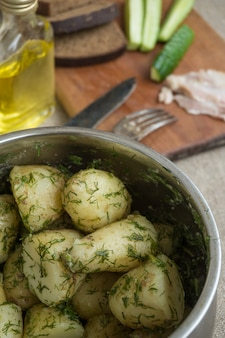 Boiled new potatoes with herbs