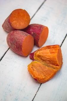 Boiled organic sweet potato.