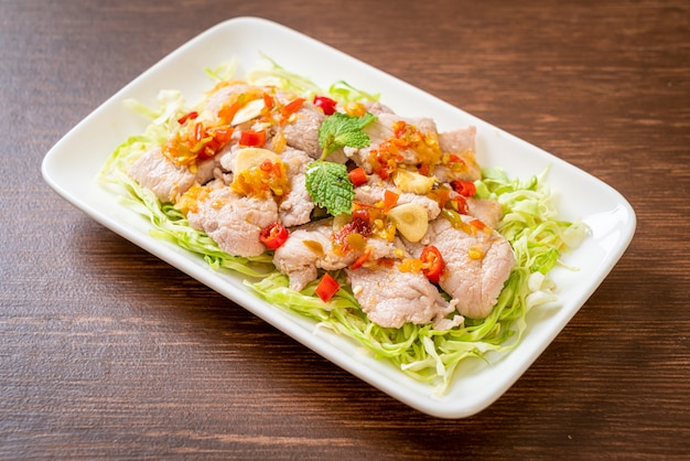 Boiled pork with lime garlic and chili sauce
