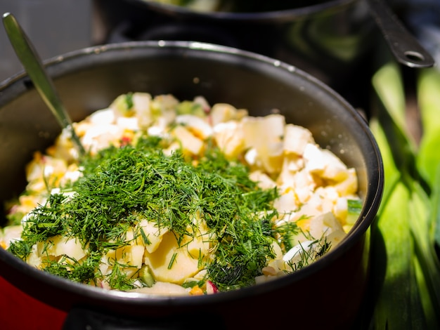 Boiled potatoes sprinkled with chopped dill