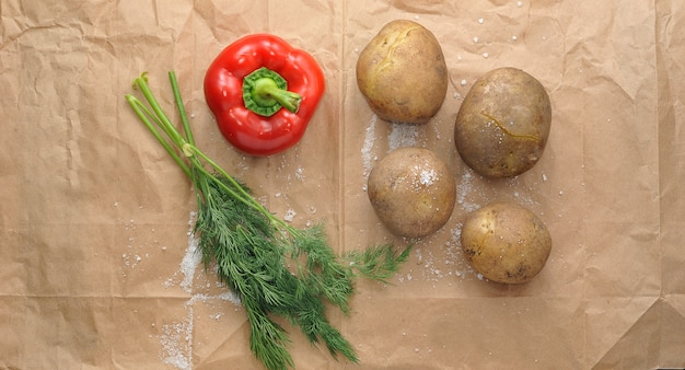 Boiled potatoes in their skins with parsley