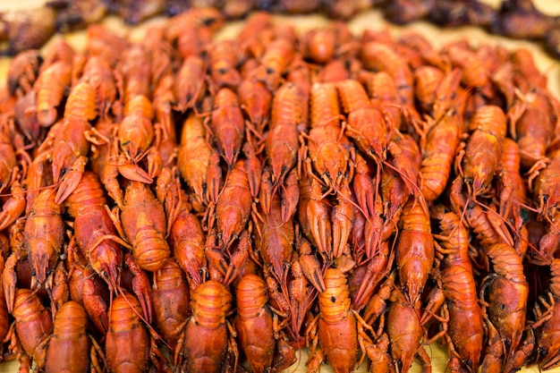 Boiled red crawfish. crawfish ready to eat. beer snack. crayfish to beer. cancers.