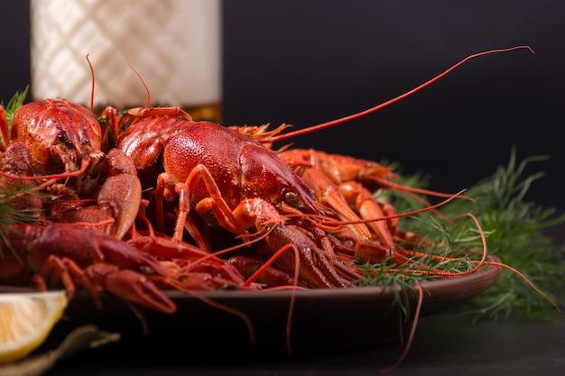삶은 붉은 가재, 어두운 배경에 레몬 조각과 얼음 조각으로 먹을 준비가되었습니다. 신선한 해산물 스낵.